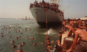 lo sbarco di 20.000 cittadini albanesi nel porto di Bari, l'8 agosto 1991